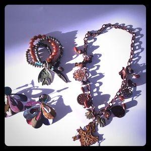 Jewelry - Boho bohemian hippie jewelry set lot of 3 rustic